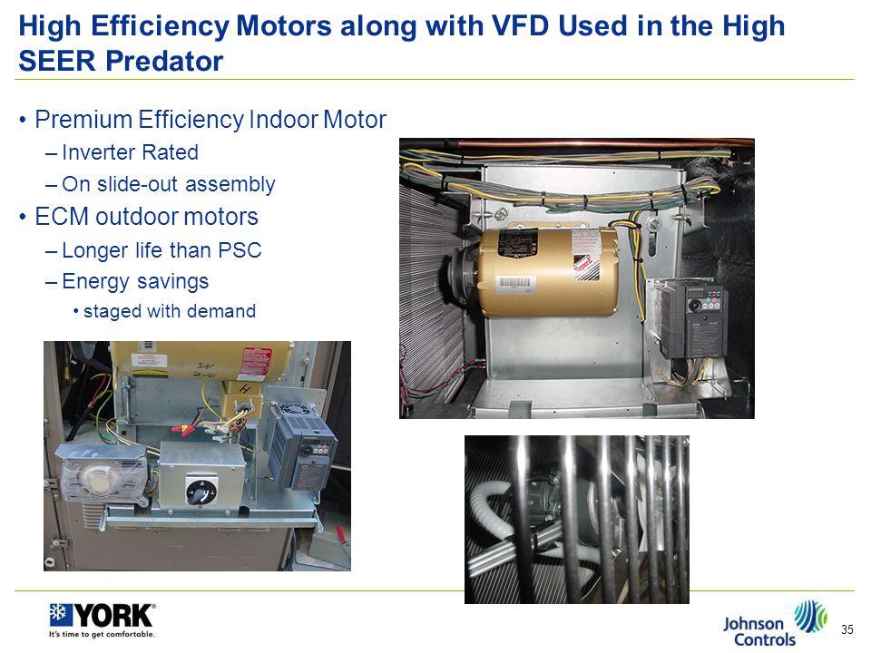High Efficiency Motors along with VFD Used in the High SEER Predator