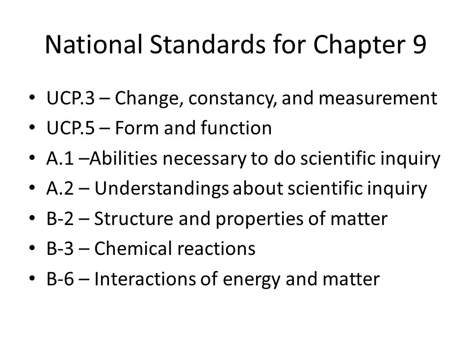 National Standards for Chapter 9