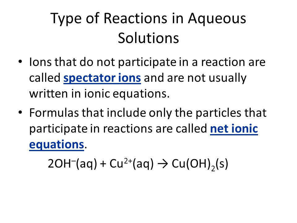 Type of Reactions in Aqueous Solutions