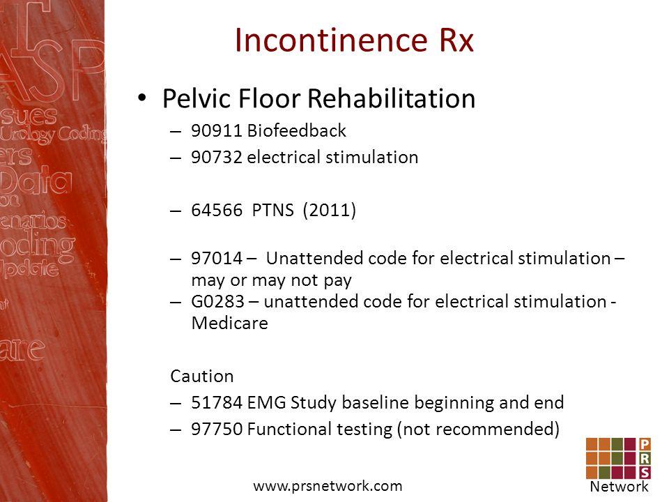 Incontinence Rx Pelvic Floor Rehabilitation 90911 Biofeedback