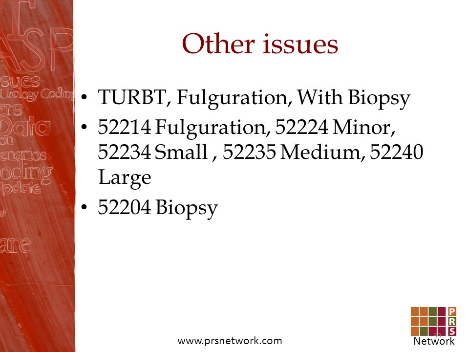 Other issues TURBT, Fulguration, With Biopsy