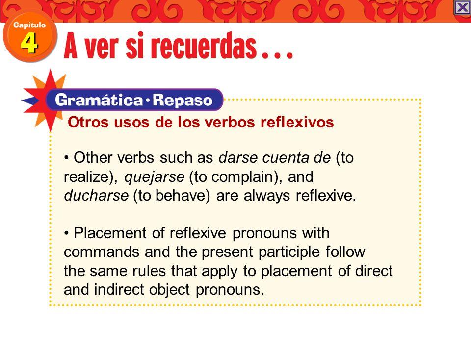 Otros usos de los verbos reflexivos