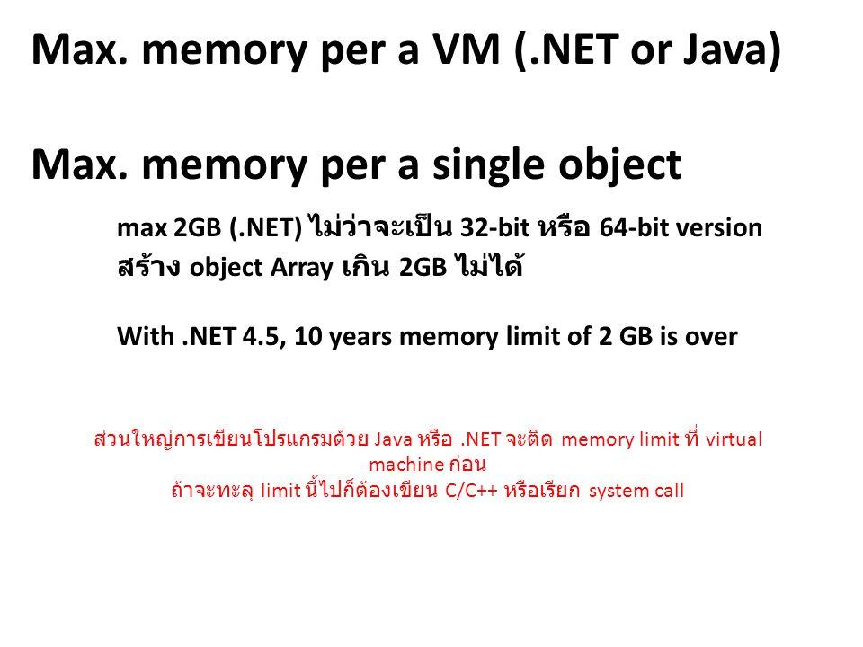 Max. memory per a VM (. NET or Java) Max. memory per a single object