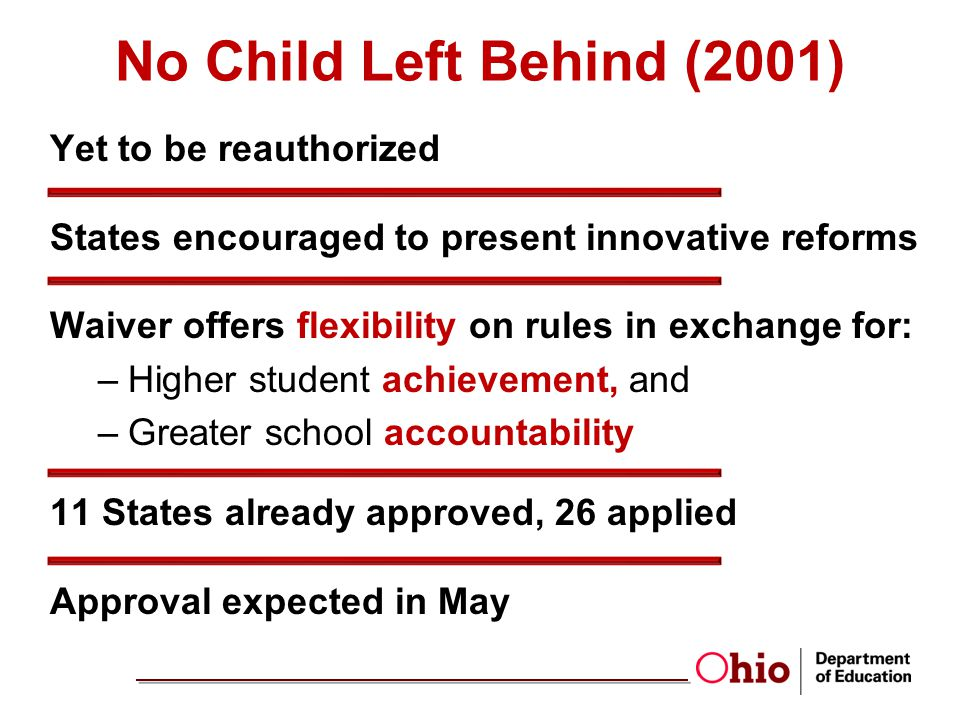No Child Left Behind (2001) Yet to be reauthorized