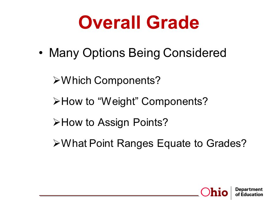 Overall Grade Many Options Being Considered Which Components