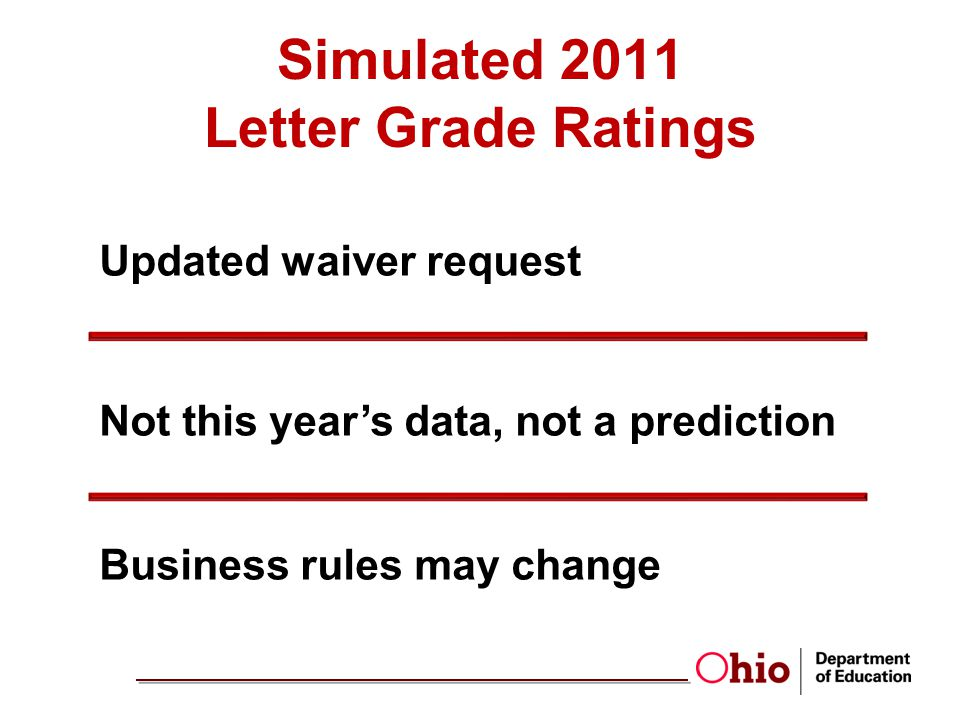 Simulated 2011 Letter Grade Ratings