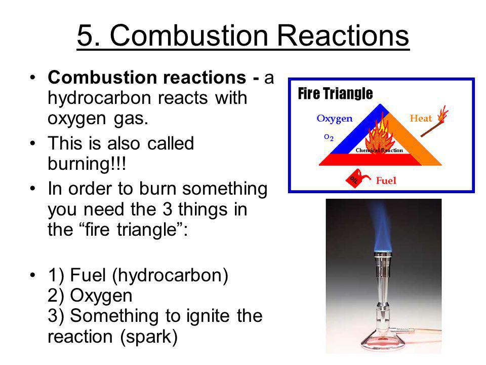 5. Combustion Reactions Combustion reactions - a hydrocarbon reacts with oxygen gas. This is also called burning!!!