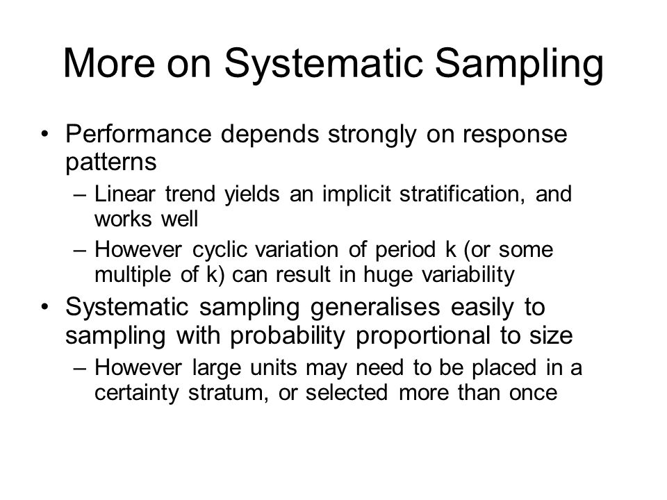More on Systematic Sampling
