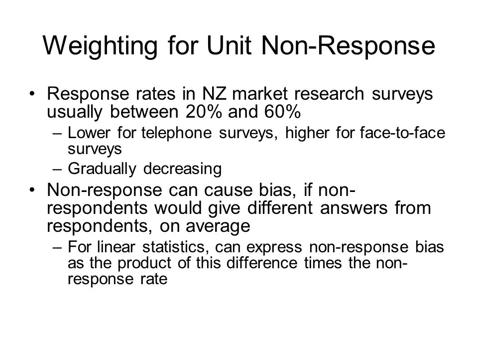 Weighting for Unit Non-Response