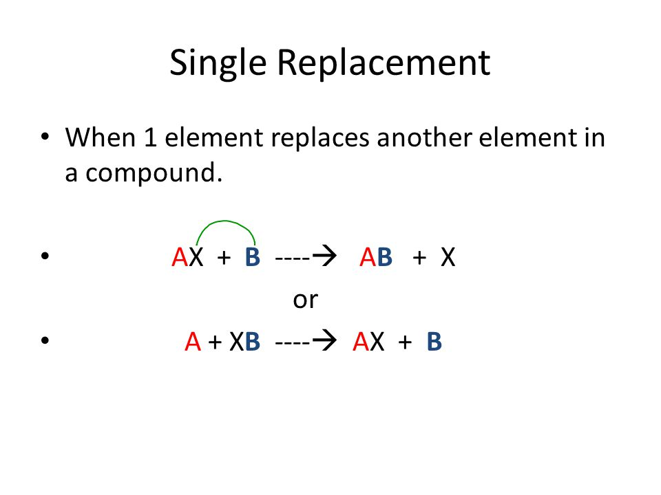 Single Replacement When 1 element replaces another element in a compound. AX + B ---- AB + X.