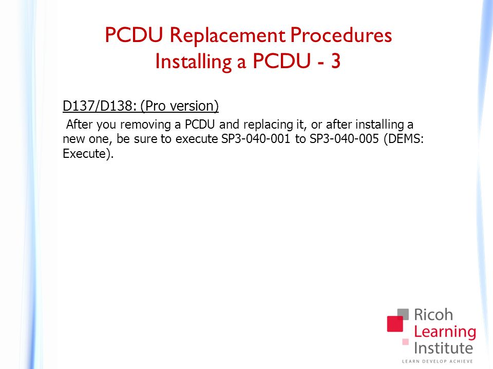 PCDU Replacement Procedures Charge Roller