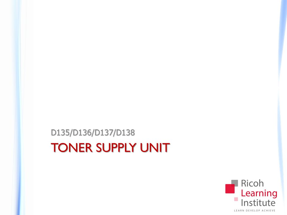 Toner Supply Unit Replacement Notes Front Cover