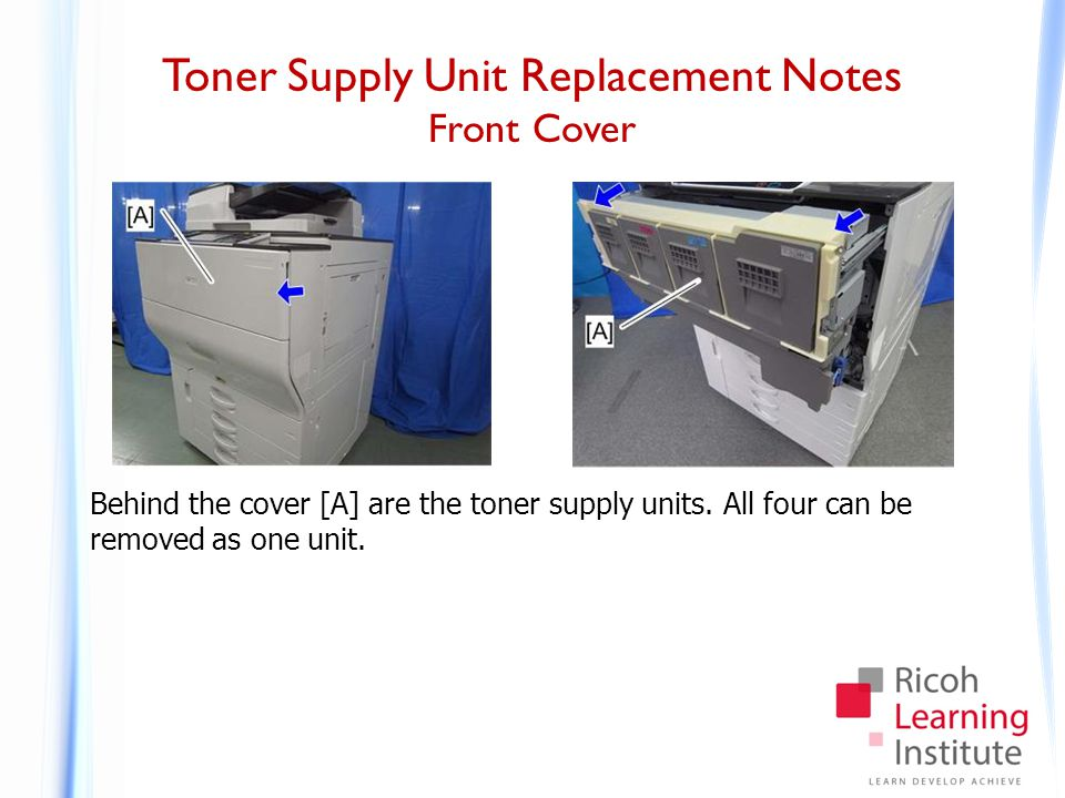 Toner Supply Unit Replacement Notes Removing the Toner Supply Unit