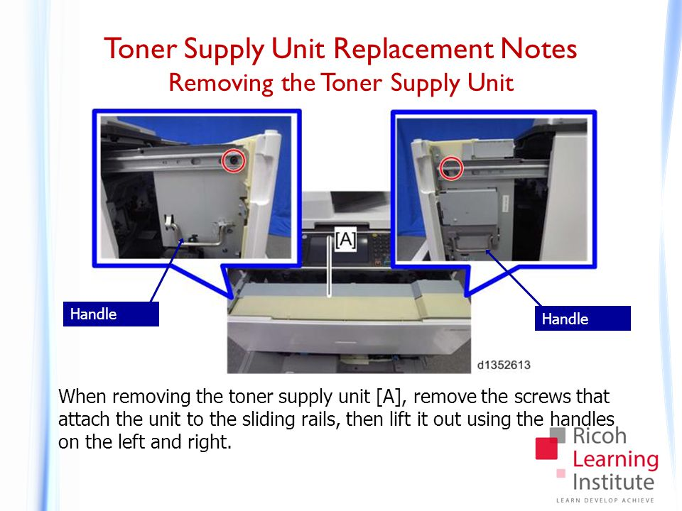 Toner Supply Unit Replacement Notes Reinstalling the Toner Supply Unit