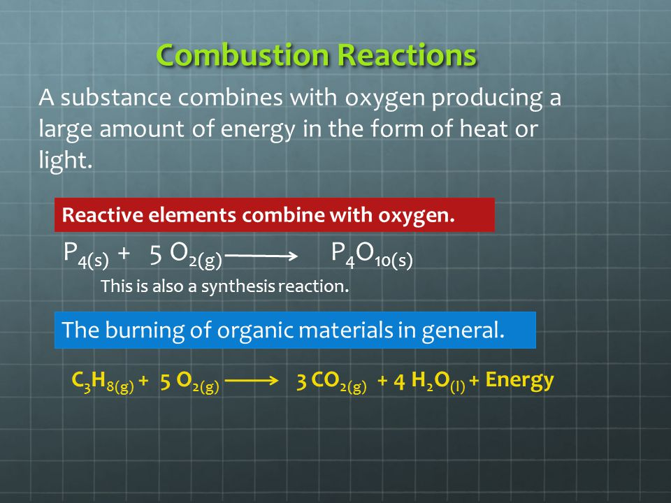 Combustion Reactions P4(s) + 5 O2(g) P4O10(s)