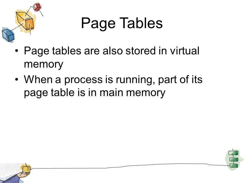 Page Tables Page tables are also stored in virtual memory