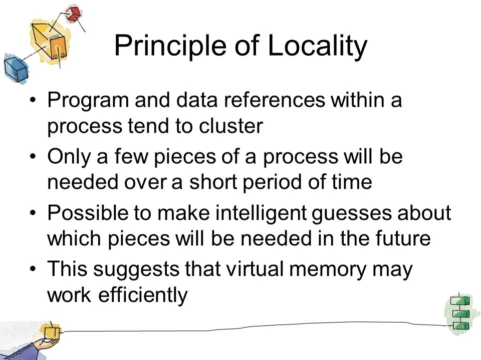 Principle of Locality Program and data references within a process tend to cluster.