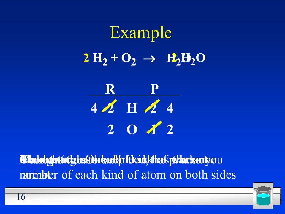 Example R P H O 2 1 4 4 2 2 H2 + H2O O2 ® 2 H2 + H2O O2 ®