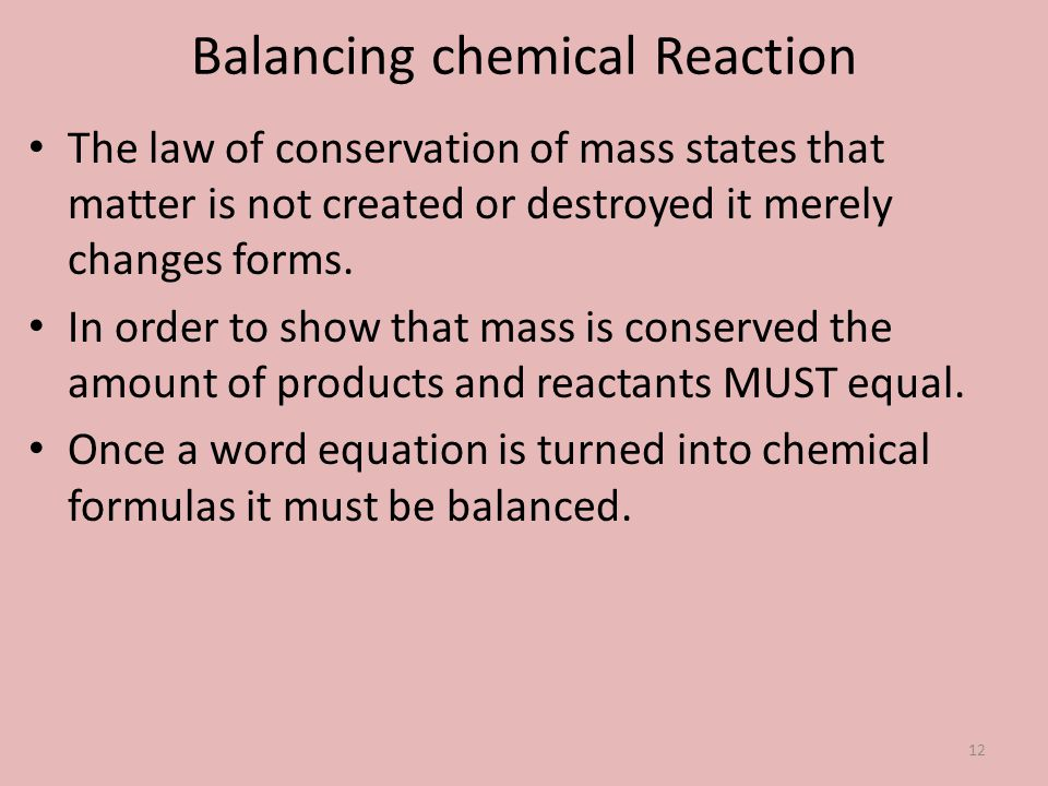 Balancing chemical Reaction