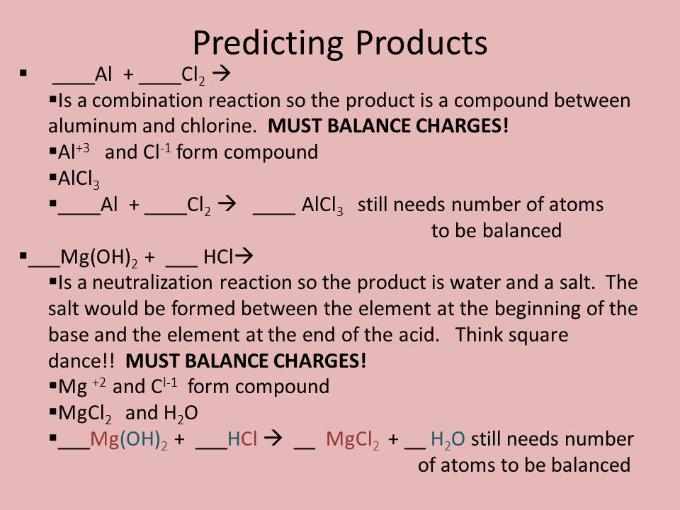 Predicting Products ____Al + ____Cl2 