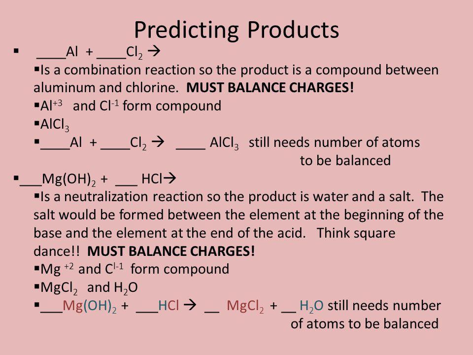 Predicting Products ____Al + ____Cl2 