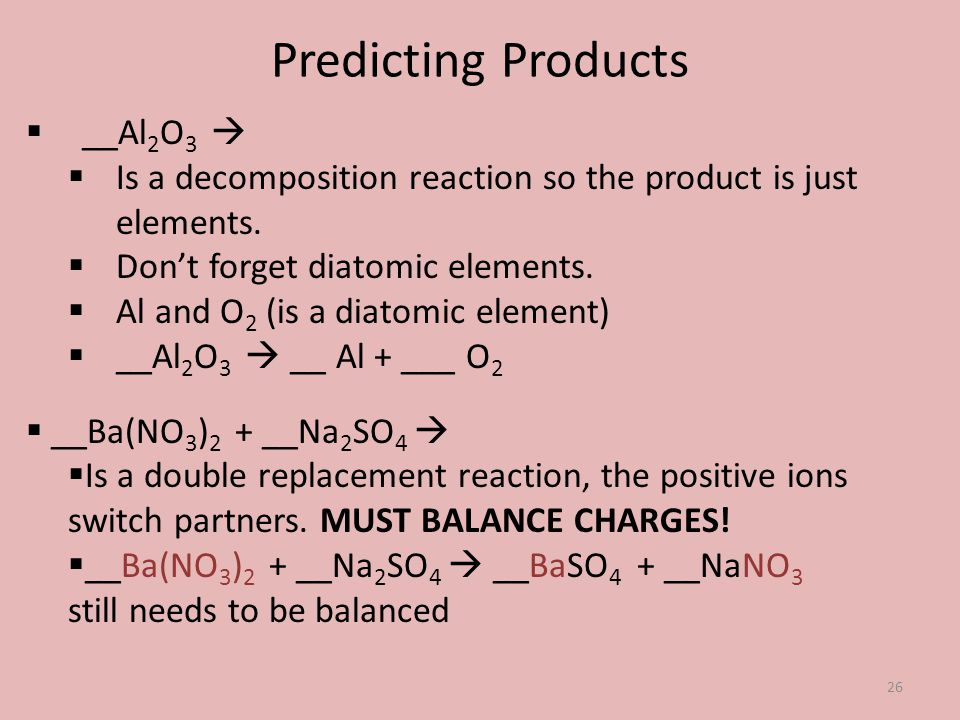 Predicting Products __Al2O3 