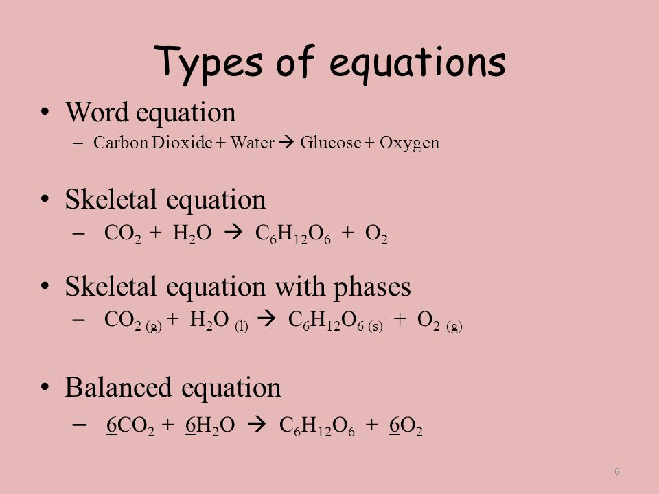 Types of equations Word equation Skeletal equation