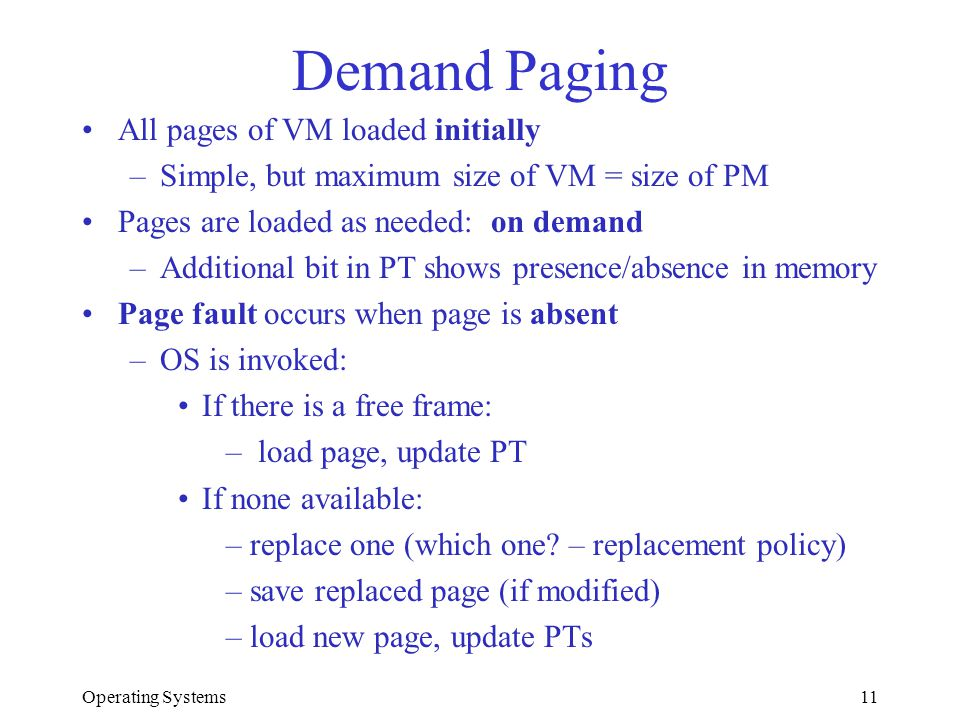 Demand Paging All pages of VM loaded initially
