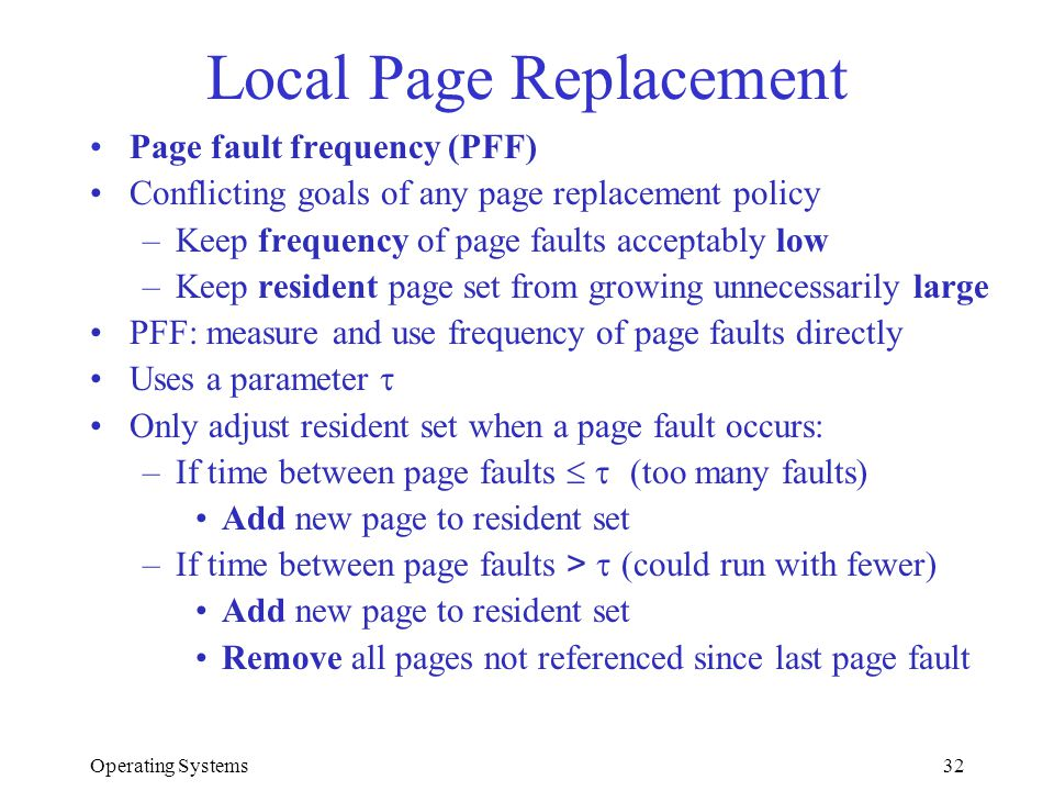 Local Page Replacement