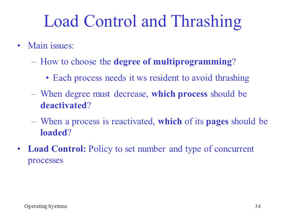 Load Control and Thrashing