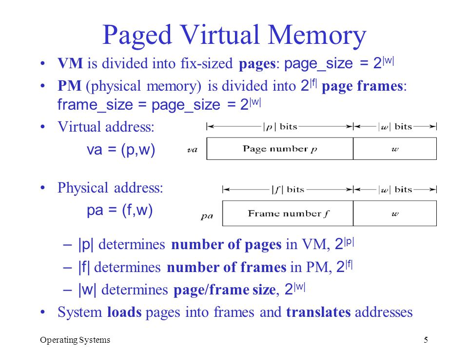 Paged Virtual Memory VM is divided into fix-sized pages: page_size = 2|w|