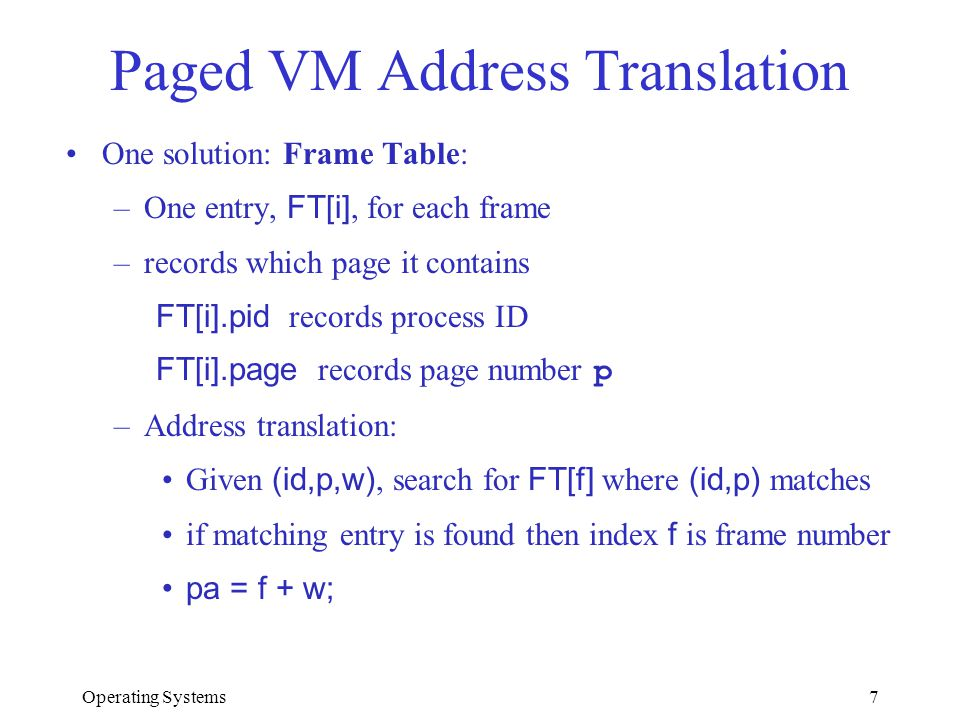 Paged VM Address Translation