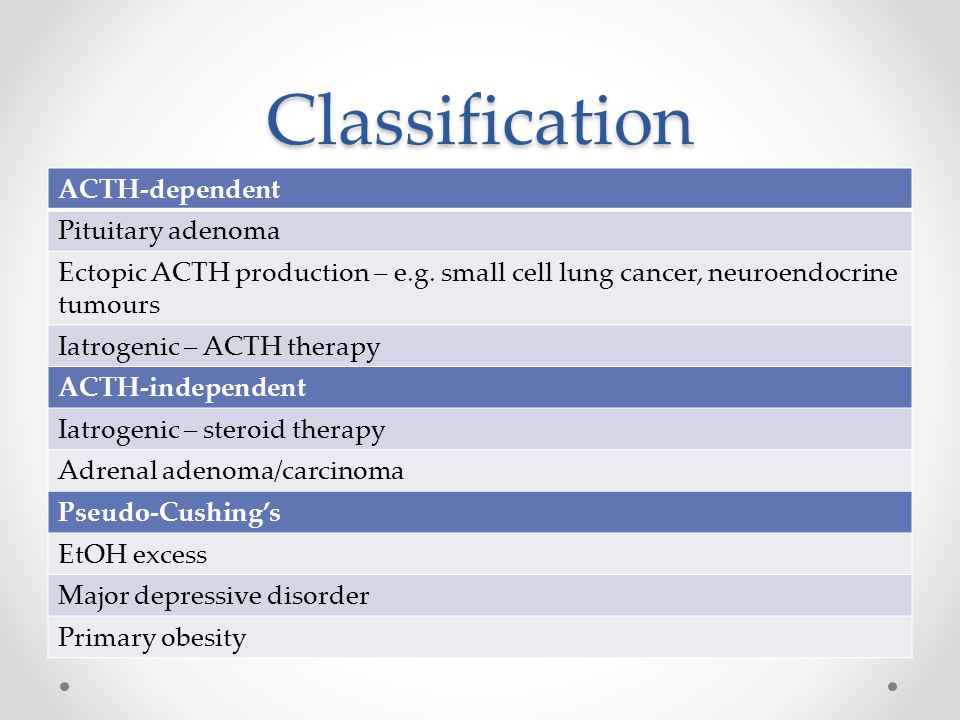 Classification ACTH-dependent Pituitary adenoma