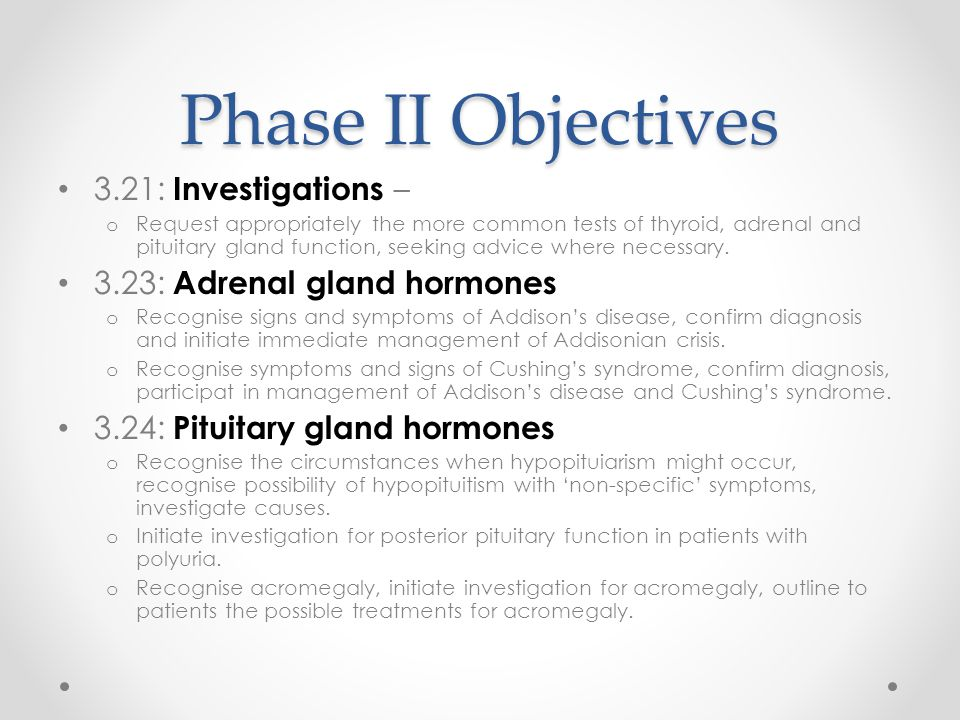 Phase II Objectives 3.21: Investigations –
