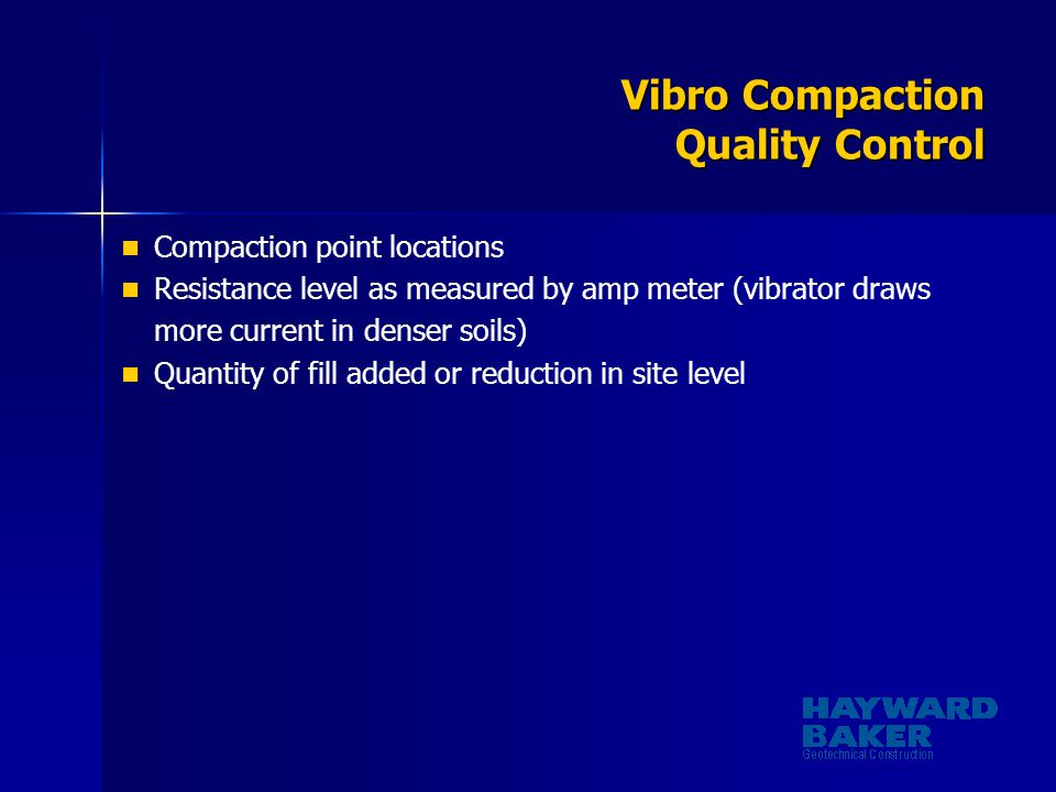 Vibro Compaction Quality Control