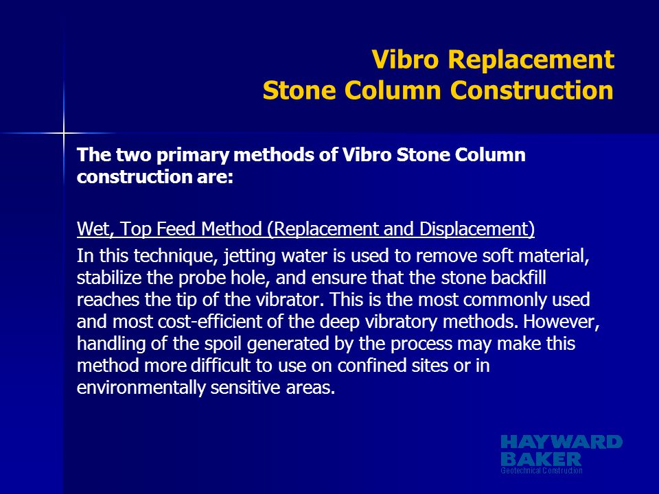 Vibro Replacement Stone Column Construction