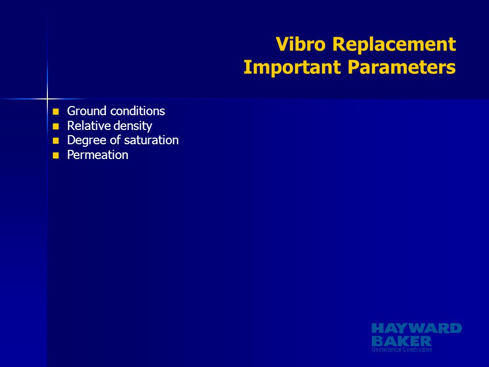 Vibro Replacement Important Parameters