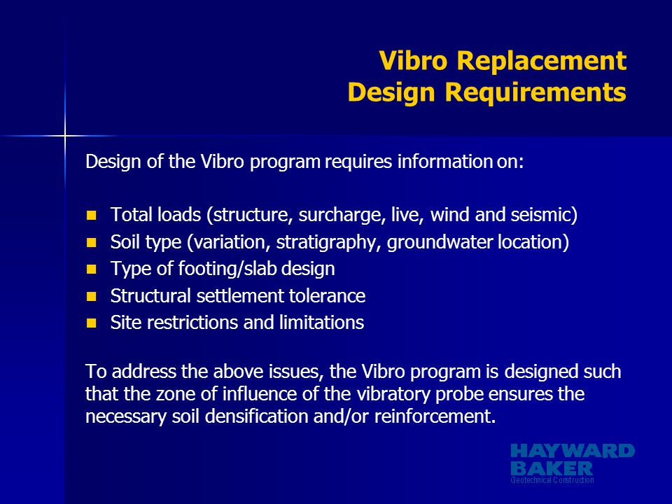 Vibro Replacement Design Requirements
