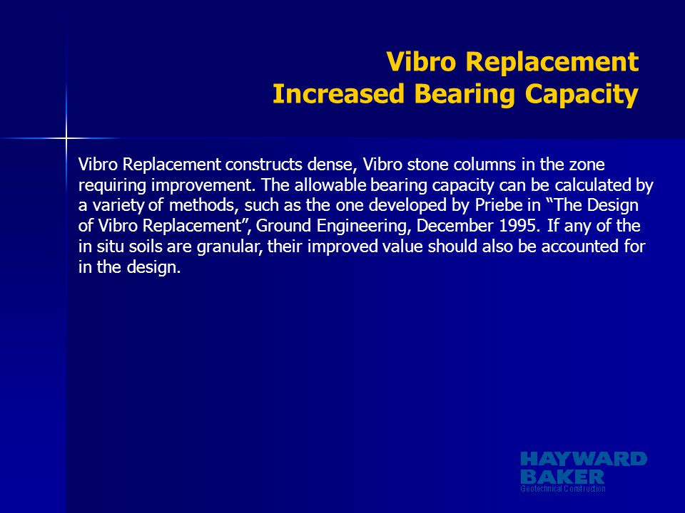 Vibro Replacement Increased Bearing Capacity
