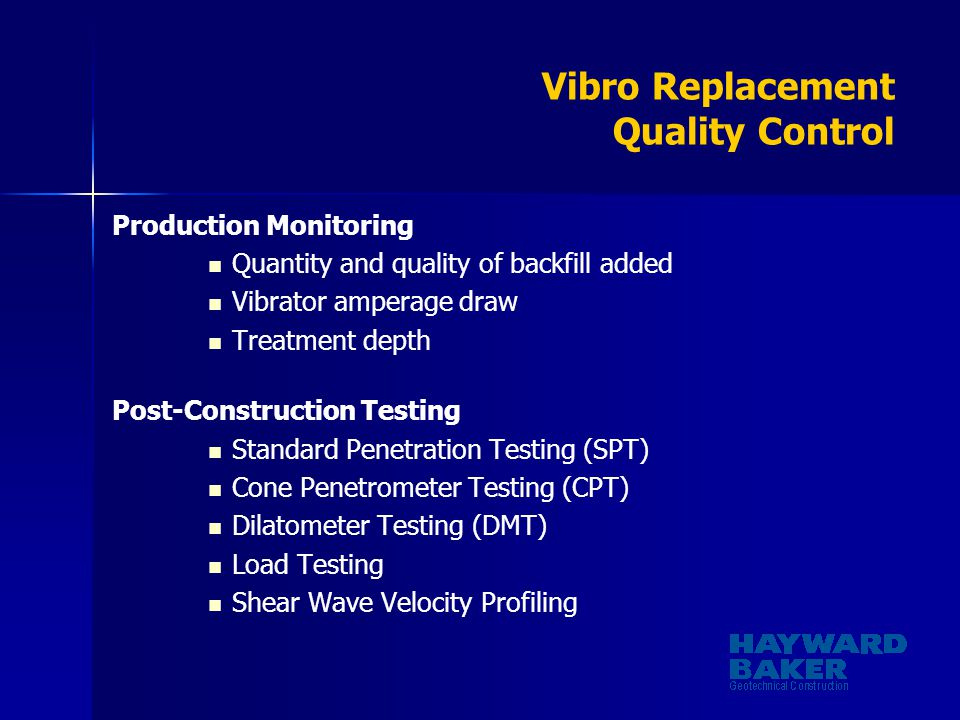 Vibro Replacement Quality Control
