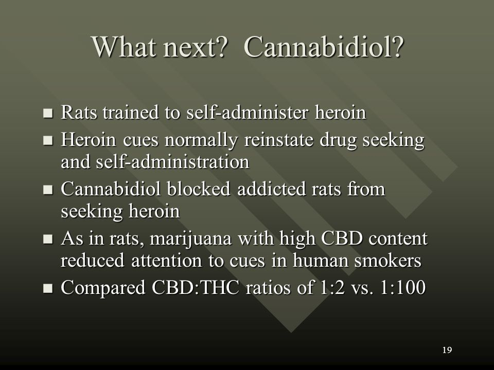 What next Cannabidiol Rats trained to self-administer heroin