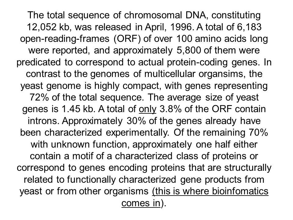 The total sequence of chromosomal DNA, constituting 12,052 kb, was released in April, 1996.