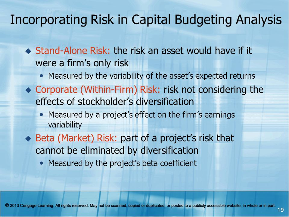 Incorporating Risk in Capital Budgeting Analysis