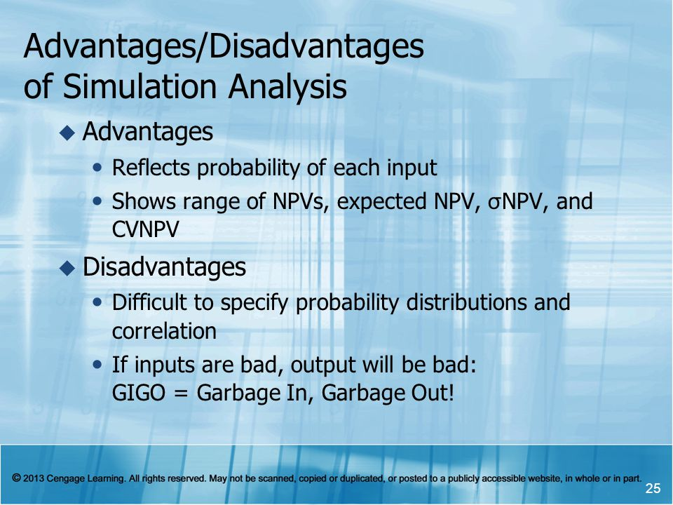 Advantages/Disadvantages of Simulation Analysis