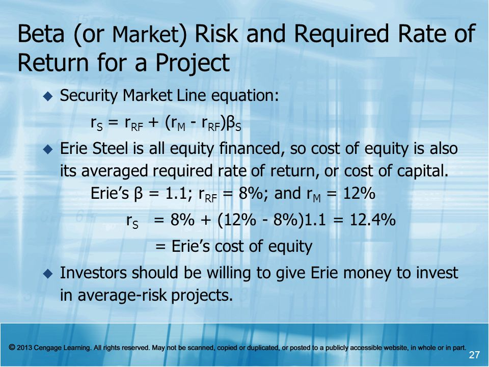 Beta (or Market) Risk and Required Rate of Return for a Project