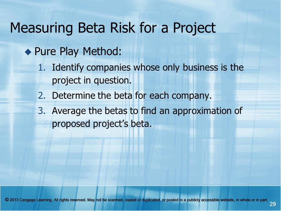 Measuring Beta Risk for a Project