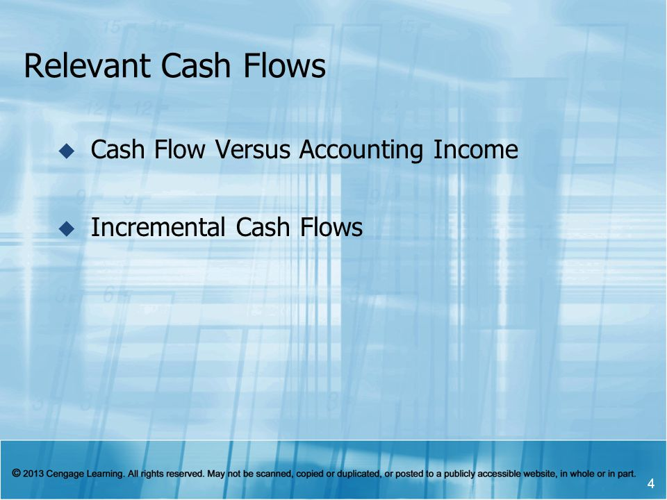 Relevant Cash Flows Cash Flow Versus Accounting Income