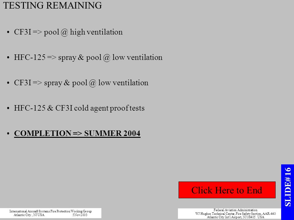 TESTING REMAINING Click Here to End CF3I => pool @ high ventilation