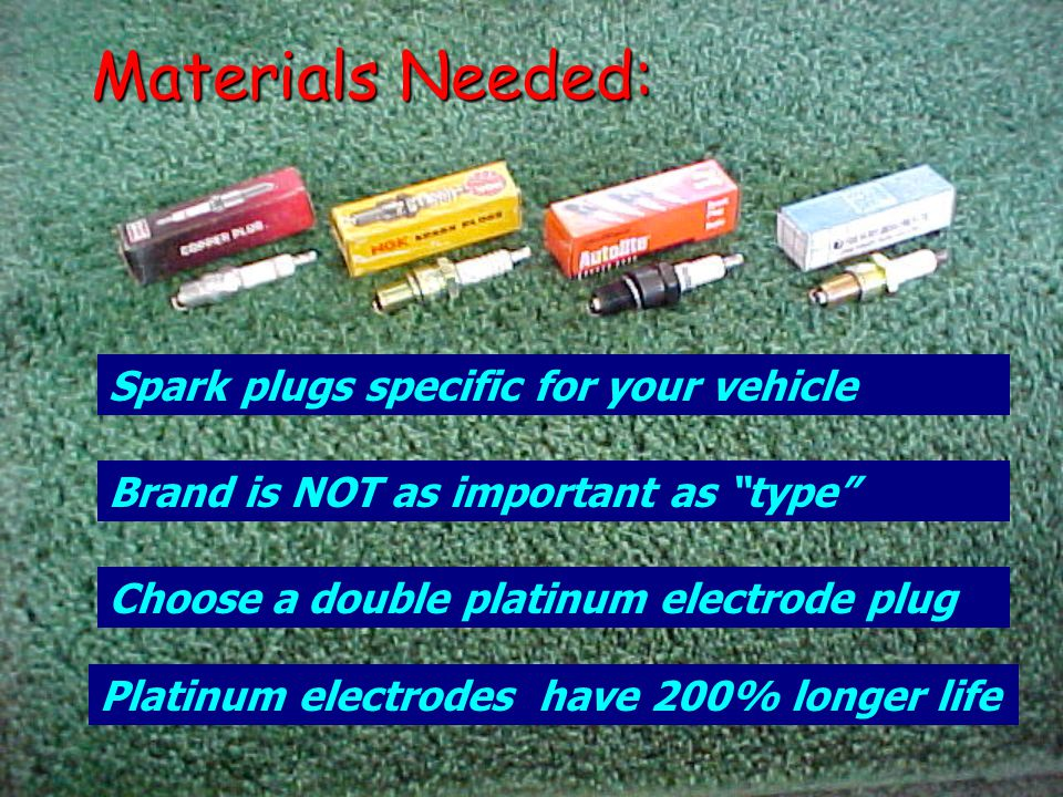 Materials Needed: Spark plugs specific for your vehicle