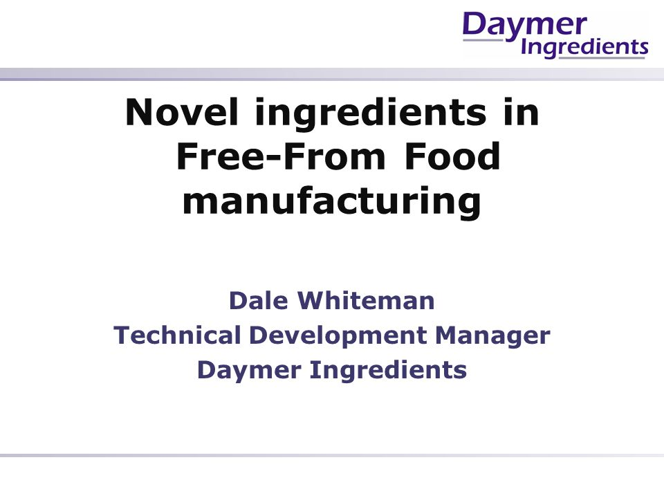 Novel ingredients in Free-From Food manufacturing